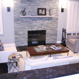 Stone Veneer Recessed Fireplace With Mantel