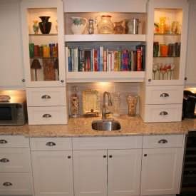 Built In Wine Refrigerator With Stainless Steel Sink & Glass Accented Cabinets