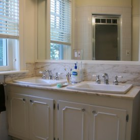 Archer Square Drop In Bathroom Sinks By Kohler, Marble Countertop With Matching Backsplash & Classic 4×4 White Tiles