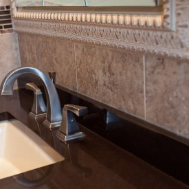 Bathroom Tile Backsplash With Glass Listello & Granite Countertop