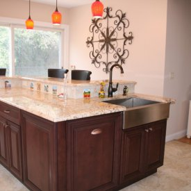 Center Island With Two Tiered Breakfast Bar
